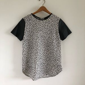 Ann Taylor Black & White Spotted Pleather Blouse